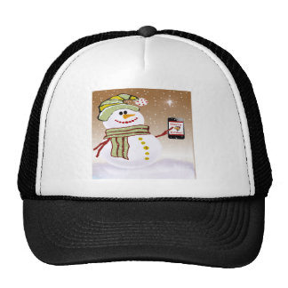 Snowman with cellphone t-shirts trucker hat