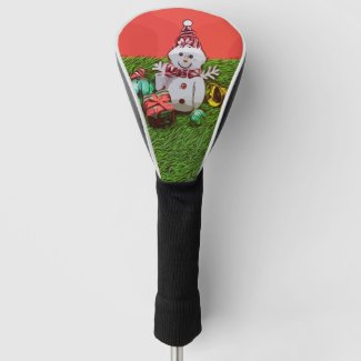 Snowman with Christmas ornament on green grass Golf Head Cover