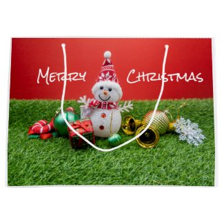 Snowman with Christmas ornament with presents Large Gift Bag