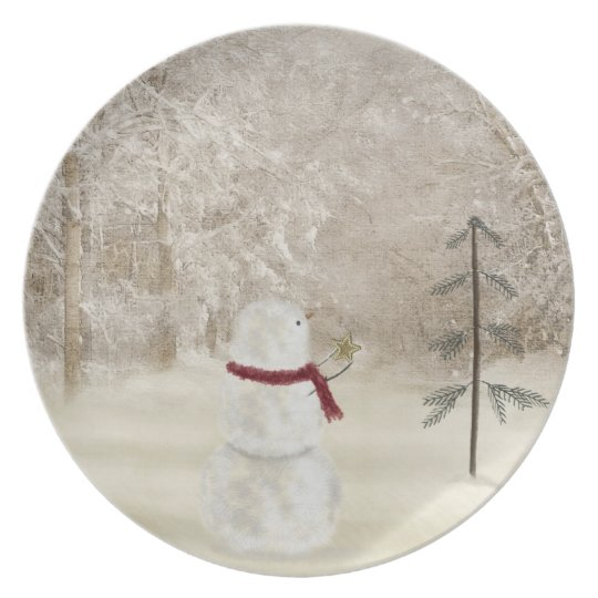 Snowman with Christmas star Dinner Plate
