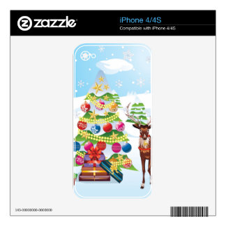 Snowman with Christmas Tree2 Skins For The iPhone 4