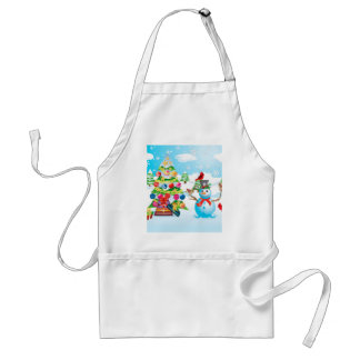 Snowman with Christmas Tree Adult Apron