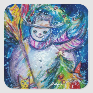 SNOWMAN WITH CHRISTMAS TREE AND TOYS IN WINTER SQUARE STICKER