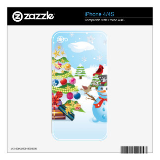 Snowman with Christmas Tree Decals For The iPhone 4S
