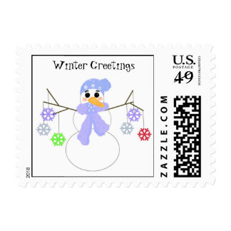 Snowman with Colorful Snowflakes Postage