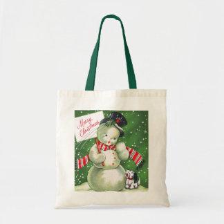 Snowman with Dog Canvas Bag