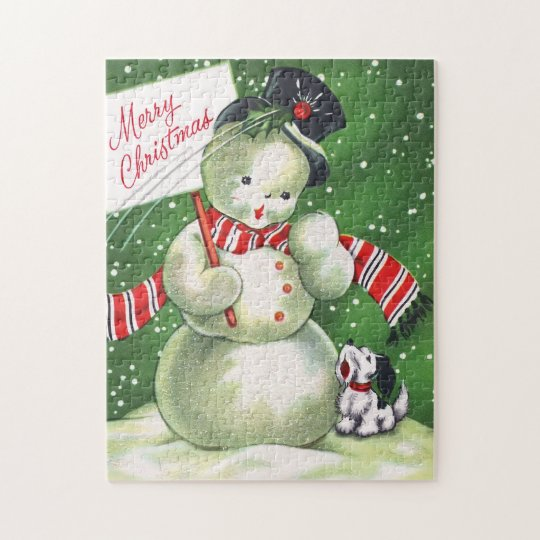 Snowman with Dog Jigsaw Puzzle