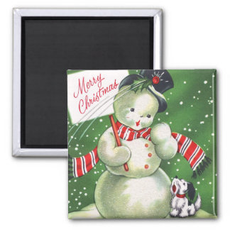 Snowman with Dog Magnet