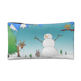 Snowman With Forest Friends Cosmetic Bag