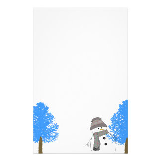 Snowman with Frosty Trees Stationery