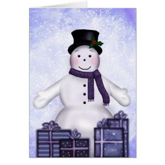 Snowman With Gifts Card