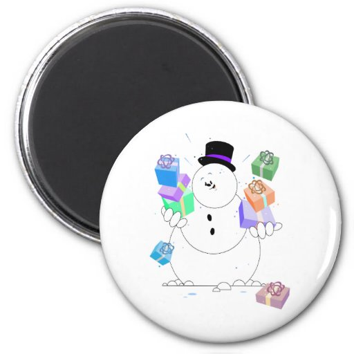 Snowman With Gifts Fridge Magnets