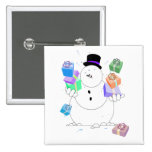 Snowman With Gifts Pin