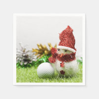 Snowman with golf ball Christmas to golfer Napkin