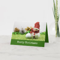 Snowman with golf ball say Merry Christmas Paper Card