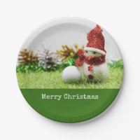 Snowman with golf ball say Merry Christmas Paper Paper Plate