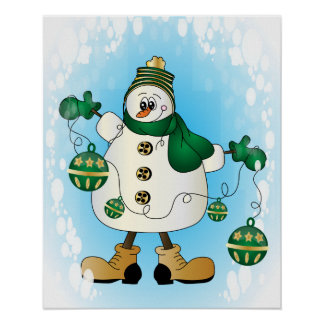 Snowman with Green Christmas Ornaments Poster