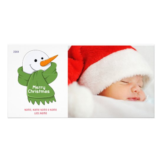 Snowman with Green Scarf Photo Card