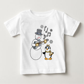 Snowman with Guitar and Penguin in Gold and Silver Baby T-Shirt