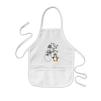 Snowman with Guitar and Penguin in Gold and Silver Kids' Apron