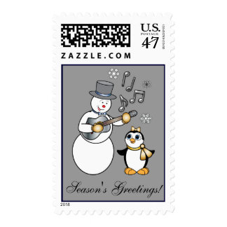 Snowman with Guitar and Penguin in Gold and Silver Postage