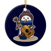 Snowman with Guitar Ceramic Ornament