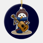 Snowman with Guitar Christmas Ornaments