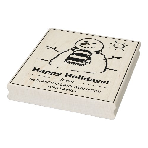 Snowman with Happy Holidays Message Rubber Stamp