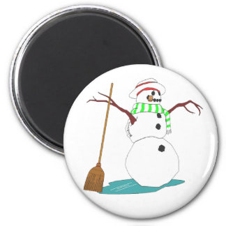 Snowman with hat and broom 2 inch round magnet