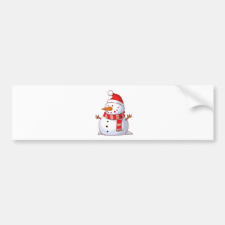 Snowman With Hat And Scarf Car Bumper Sticker