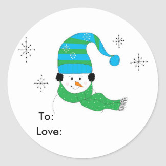 Snowman With Hat and Scarf Classic Round Sticker