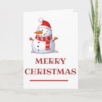 Snowman With Hat And Scarf Holiday Card