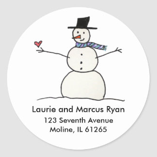 Snowman with Heart Address Labels Classic Round Sticker