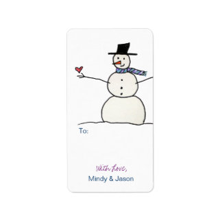 Snowman with Heart Gift Tags Address Label