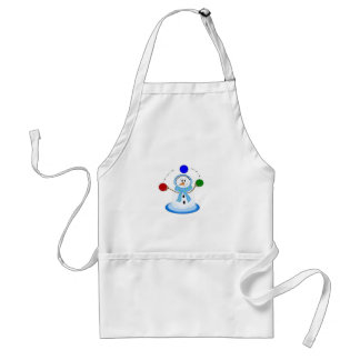 Snowman With Juggling Skills Adult Apron