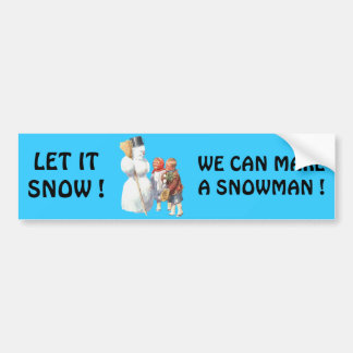 SNOWMAN WITH KIDS BUMPER STICKERS