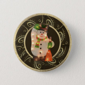 Snowman with Lights Classy Brown & Gold Button