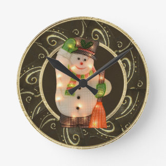 Snowman with Lights Classy Brown & Gold Clock