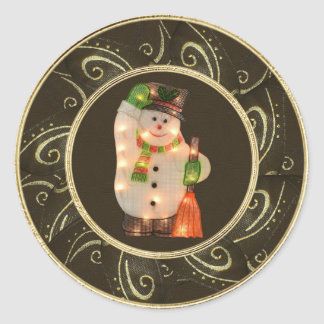 Snowman with Lights Classy Brown & Gold Stickers