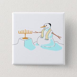 Snowman With Menorah Button