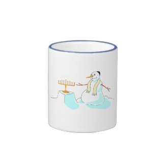 Snowman With Menorah Ringer Coffee Mug