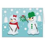 Snowman with Mistletoe Wanting a Kiss Card
