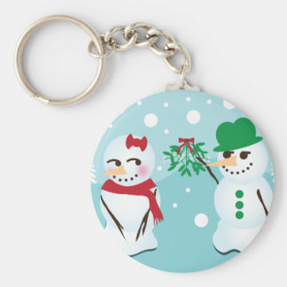Snowman with Mistletoe Wanting a Kiss Keychain