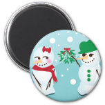 Snowman with Mistletoe Wanting a Kiss Magnets
