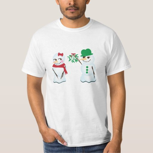Snowman with Mistletoe Wanting a Kiss T-Shirt