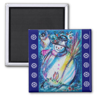 SNOWMAN WITH OWL / Blue White Snowflakes Magnet