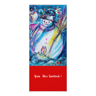 SNOWMAN WITH OWL , Christmas Party Card