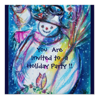 SNOWMAN WITH OWL , HOLIDAY PARTY CARD