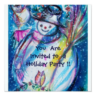 SNOWMAN WITH OWL , HOLIDAY PARTY Ice Metallic Card