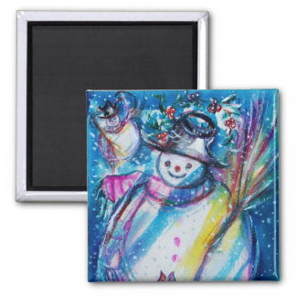 SNOWMAN WITH OWL REFRIGERATOR MAGNET